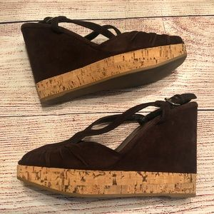 Prada Suede Wedge with Cork Sole